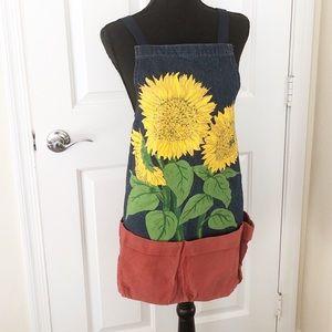 Sunflower denim gardening apron made in the USA